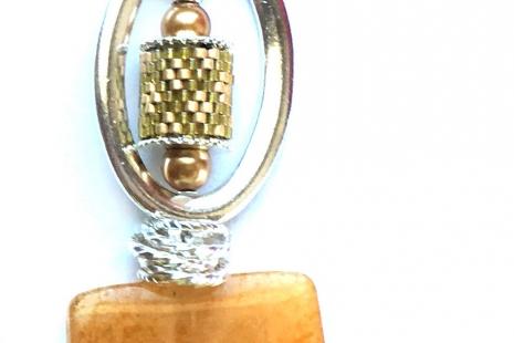 Stone Heart Pendant - Yellow Jade